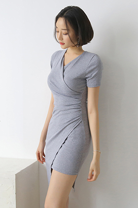 :RDR1340 unbal shirring mini dress